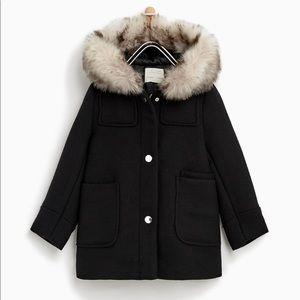 Zara Girl Faux fur hooded duffle coat Black